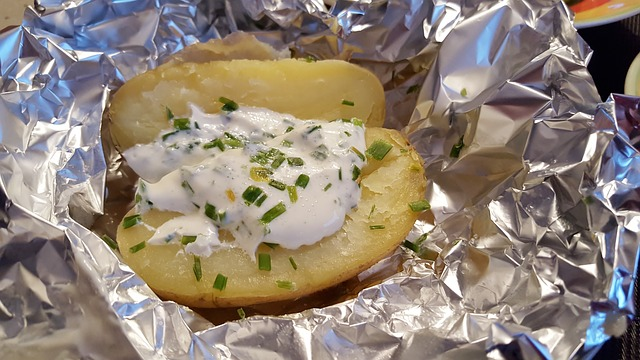 baked potatoes in a foil