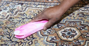 A person's hand is using a pink brush for DIY carpet cleaning without a machine.