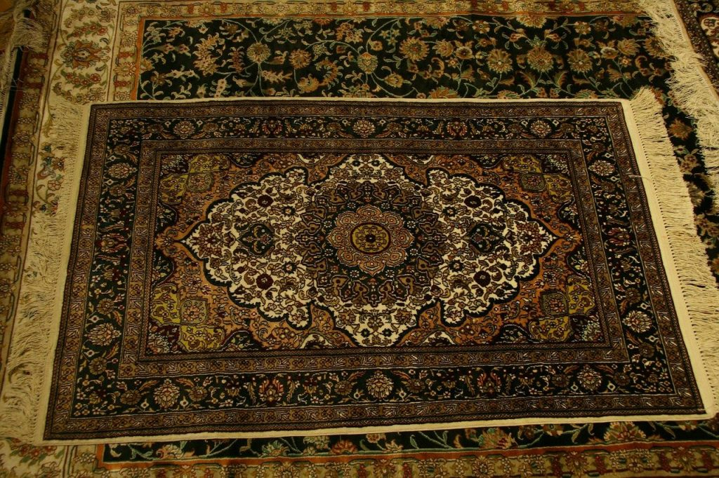 An oriental rug, which requires special care when you try DIY carpet cleaning without a machine.