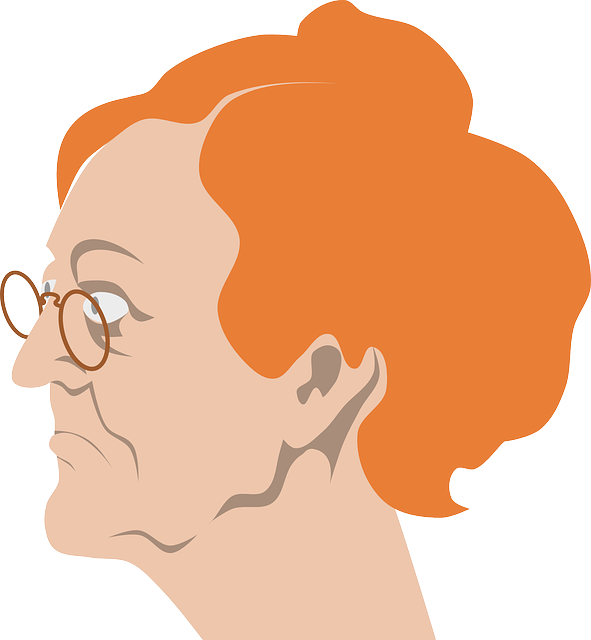 illustration of a grandmother wearing an eyeglass